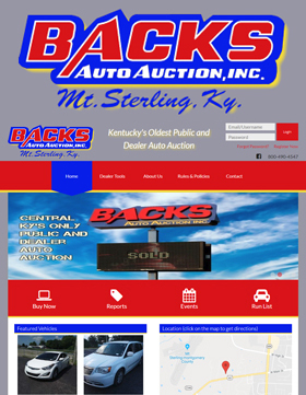 Back's Auto Auction has had one mission since it's inception in 1979: give both buyer and seller an auction action expereince they will never forget! Open to both public and dealer, Back's prides itself on customer satisfaction and the integrity you have come to expect from Kentucky's oldest public and dealer auto auction.
